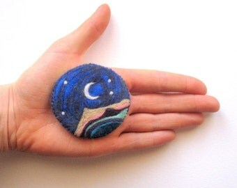Felt brooch, moon and stars pin, needle felted badge, felted wool brooch, electric blue