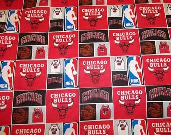 CHICAGO BULLS     - NBA Basketball   Fabric 1/2  Yard   Piece  Mult Color Squares 100% Cotton