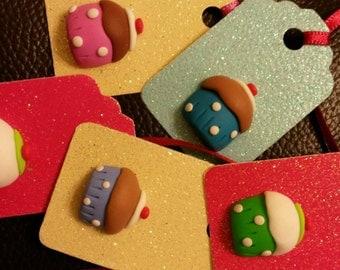Cute cupcake gift tags. Set of 5