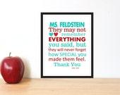 Teacher Appreciation Gift Print  Custom Colors & Personalized