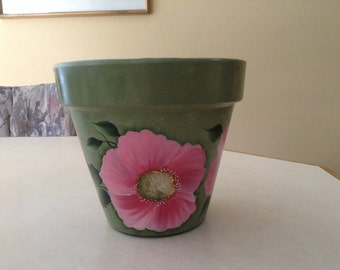 Handpainted flower pot, soft green with pretty pink flowers and green leaves