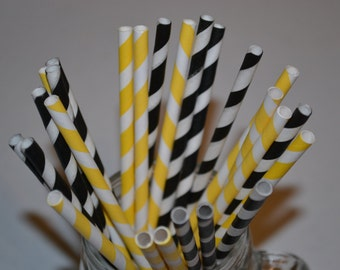 25 Piece Honey Bee Set of Straws_Black and Yellow Striped