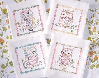 Flour Sack Embroidered Towels Set of 4  Whimsical Owl Designs