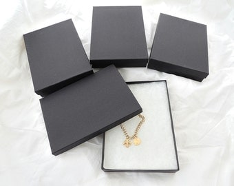 "10 Pack of Large Matte Black Cotton Filled Jewelry Presentation Gift Boxes, Jewelry Kraft Display Boxes size 7 1/8"" x 5 1/8"" x1 1/8"" tall,"