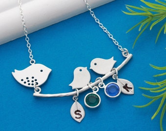 LOVE birds necklace, Sterling Silver Cute lovebirds necklace, with custom charms. Mother's Necklace, Grandmothers necklace gift