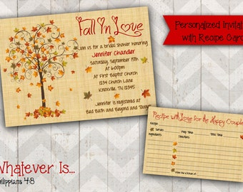 Fall In Love Bridal Shower Invitation with Recipe Card