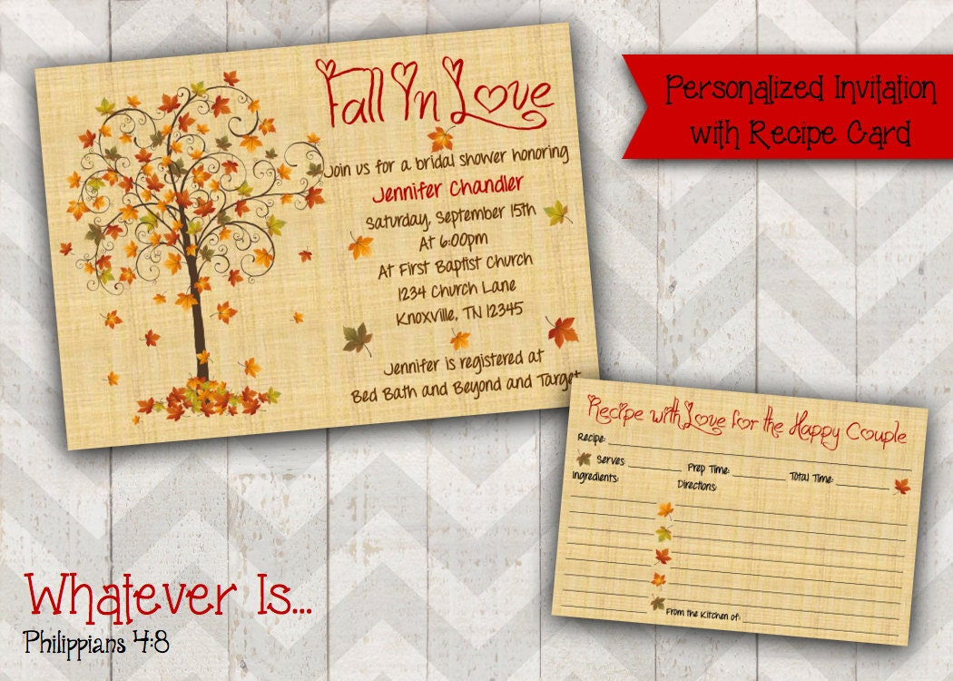 Fall Wedding Shower Invitations: Fall In Love Bridal Shower Invitation With Recipe Card