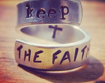 Keep the faith cross inside aluminum spiral ring