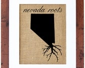 Nevada Roots, Burlap Art, Wall Art, Burlap, State Roots, Frame Included