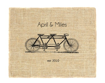 Tandem Bicycle Monogram Unframed, Bicycle Monogram, Burlap Monogram, Wedding Monogram