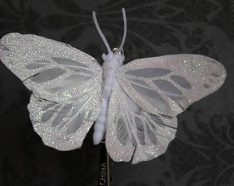 White Feather Glitter Butterfly Hair Clip