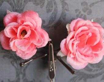 Pink mini hair flowers on mini bobby pins. Set of 2.