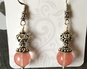Bali Sterling Silver and Cherry Quartz Earrings