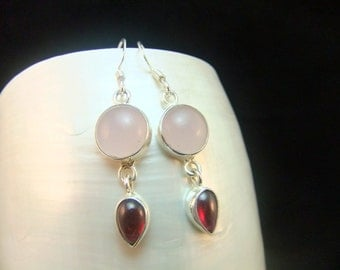 Garnet & Rose Quartz  Sterling Silver Drop Earrings