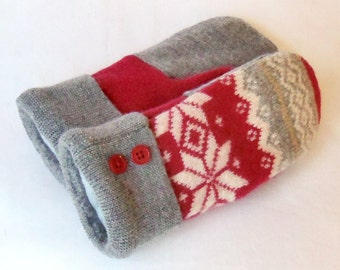 Children's - Medium - Felted Wool Mittens - Red/Grey/Ivory - Wool Mittens - Felted Wool Sweater Mittens