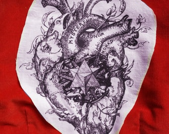 Anatomical Heart Patch BIG - Sacred Heart Back Patch Mystical Art Fabric Print- White Pink or Red LOVE EVOLUTION