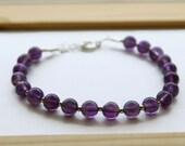 Amethyst Bead Bracelet, February Birthstone Bracelet, Gemstone Bracelet, Positive Energy Bracelet, Insomnia Bracelet