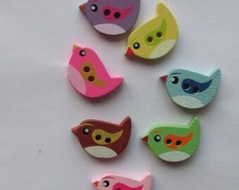 Little wooden bird buttons