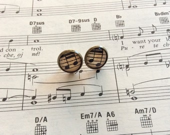Upcycled Vintage Music Paper Glass Stud Earrings