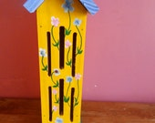 pine wooden hand painted butterfly house