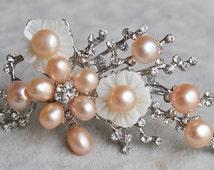 pink pearl brooch, 5-7mm pink  Pearl shell flower brooch,freshwater pearl brooch,flower shape brooch,wedding brooch,mother brooch,mom gift