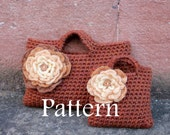 CROCHET PATTERNS - Mother and daughter matching autumn flower purses - Listing125