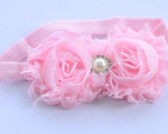 Pink Couture Chiffon Flower shabby headband