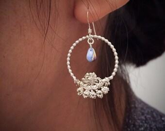 Sterling silver hoop earrings with czech glass drops, chandelier silver earrings
