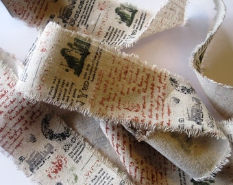 """Travel Diary Script Wide Ribbon, Natural, 2 1/2"""" inch wide, 1 yard For For Gift Packing, Wreaths, Center Pieces, Home Decor"""