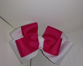 Hot Pink and White Bow