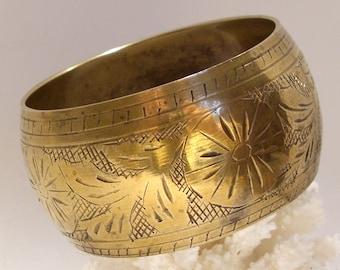 Wide Brass Engraved Bangle Bracelet