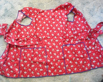 Vintage 1960's Apron-Ruby Red Floral-A12