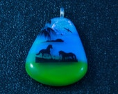 Scenic Fused Glass Pendant with Horses on Tropical Beach  50% off Clearance Sale