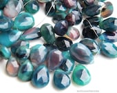Multi Color Chalcedony Faceted Pear Briolette. Aqua Faceted Pear Briolette Bead. Semi Precious Gemstone Briolette. 11-13mm. 6 Bead Strand