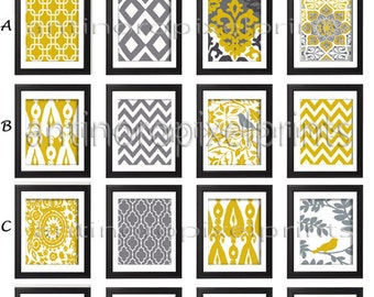 Wall Art Prints Vintage / Modern Inspired Wall Art Prints -Pick Any (6) Any Color - 8x10 Prints -  Dark Yellow Greys White  (UNFRAMED)