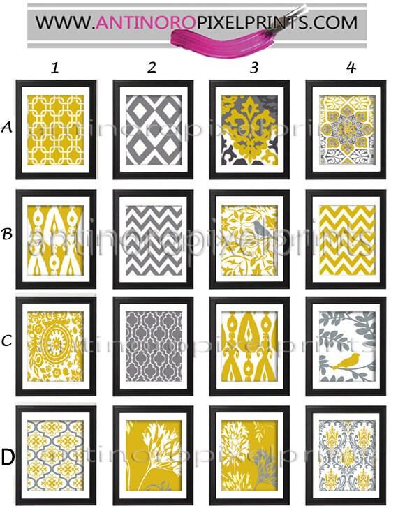 Mustard Yellow Grey Wall Art Prints Modern Inspired Wall Art Prints -Pick Any (6) Any Color - 8x10 Prints - (UNFRAMED)