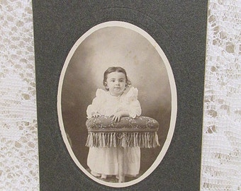 Victorian girl cabinet photo child leaning on fringed stool