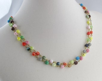 Multi-Colored Textured Glass Chain One or Two Strand Necklace with Magnetic Clasp
