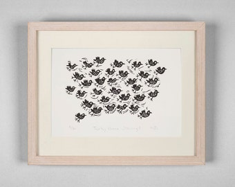 Lino Cut Print - Thirty three starlings - birds, bird art, nature