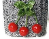 Lovina Ceramic Cherry Planter Vase Vintage Planter With Cherries, Black Red White Gray Kitchen Decor by colonialcrafts on Etsy