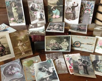 Antique French Postcard Collection 1909 1912 20 Cards Used, Unused Condition