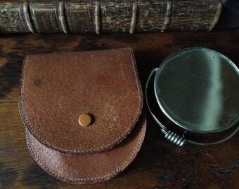 Vintage England Travel Shaving Mirror ~ Pigskin Leather Case