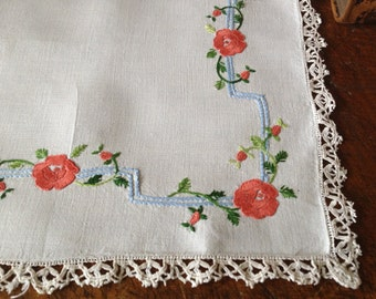 French Linen Table Runner Vintage Heirloom Floral Hand Worked Crochet Embroidered Cotton Linen Table Runner Mat