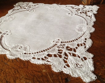 French Linen Table Doily Vintage Heirloom Hand Worked Crochet Lace White on White Cotton Mat
