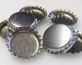 Non-Flattened Bottlecaps - Linerless - Silver Chrome Bottle Caps