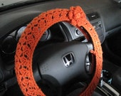 Crochet Steering Wheel Cover, Wheel Cozy with a Flower- carrot (CSWC 8B-F)
