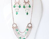 Beautiful rose gold plated copper Set necklace and earrings with green agate and clear quartz gemestones