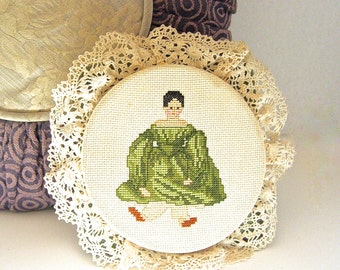 Handmade vintage Cross-stitch Petit Point. Embroidery Hoop Art,  Square Geen Pillow, Large Pin Cushion, Children's Decor