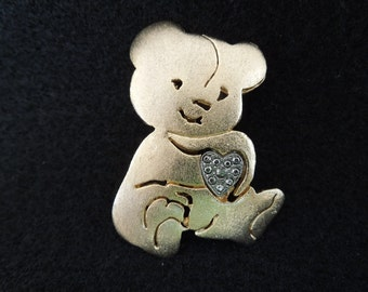 Vintage Bear Brooch.  Brushed Gold Tone with Silver Toned Heart.  Made by Ultra Crafts