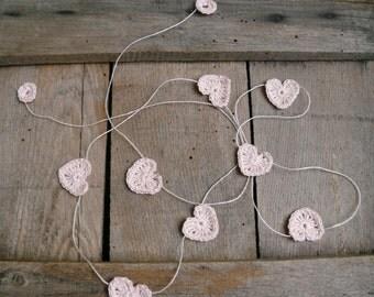 Wedding garland, Crocheted hearts on Garland, Wall Hanging, Crochet Wedding pink Garland, crochet ornaments, embellishment, linen applique